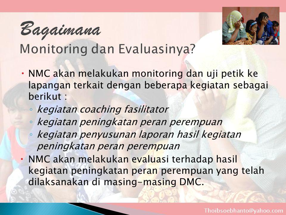  NMC akan melakukan monitoring dan uji petik ke lapangan terkait dengan beberapa kegiatan sebagai berikut : ◦ kegiatan coaching fasilitator ◦ kegiata