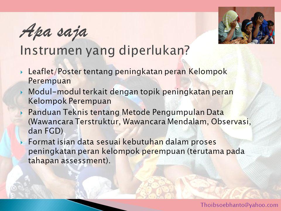  Leaflet/Poster tentang peningkatan peran Kelompok Perempuan  Modul-modul terkait dengan topik peningkatan peran Kelompok Perempuan  Panduan Teknis