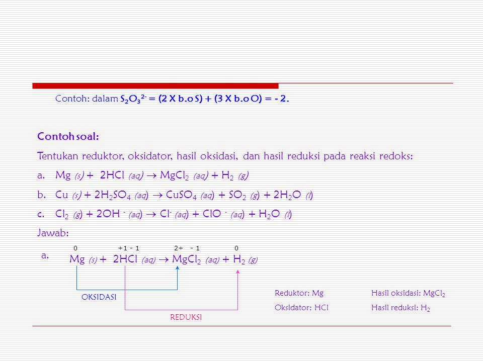 Contoh: dalam S SS S2O32- = (2 X b.o S) + (3 X b.o O) = - 2.