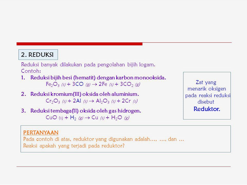 2.REDUKSI Reduksi banyak dilakukan pada pengolahan bijih logam.