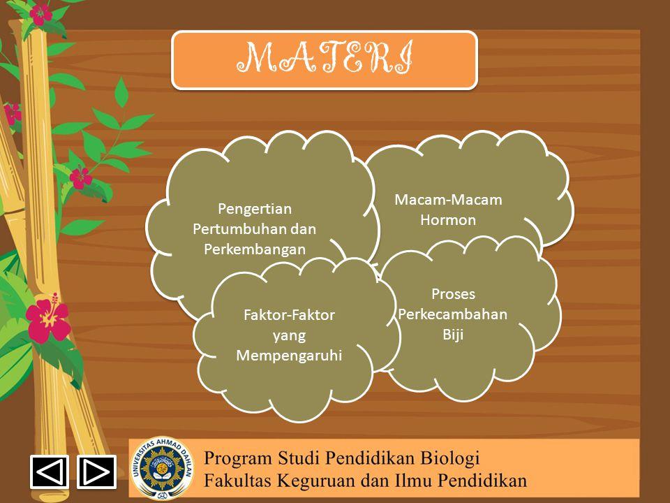 MATERI Macam-Macam Hormon Macam-Macam Hormon Pengertian Pertumbuhan dan Perkembangan Pengertian Pertumbuhan dan Perkembangan Proses Perkecambahan Biji