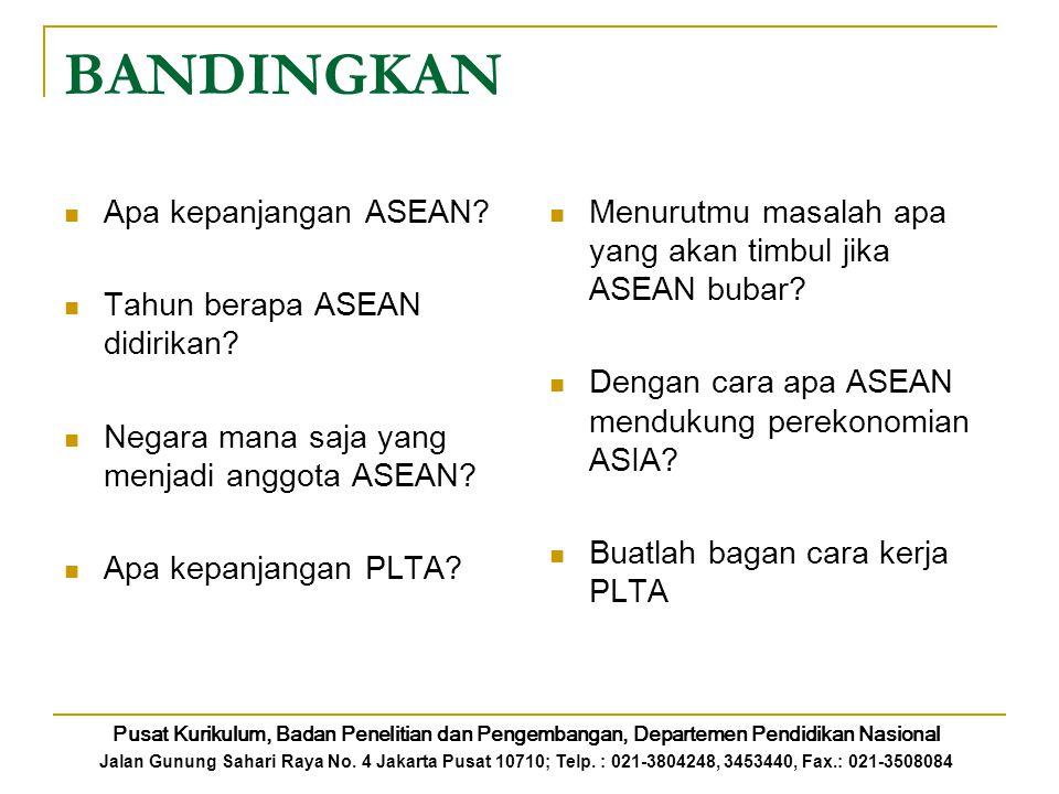 BANDINGKAN Apa kepanjangan ASEAN? Tahun berapa ASEAN didirikan? Negara mana saja yang menjadi anggota ASEAN? Apa kepanjangan PLTA? Menurutmu masalah a