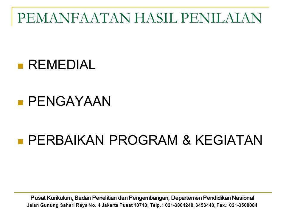PEMANFAATAN HASIL PENILAIAN REMEDIAL PENGAYAAN PERBAIKAN PROGRAM & KEGIATAN Pusat Kurikulum, Badan Penelitian dan Pengembangan, Departemen Pendidikan