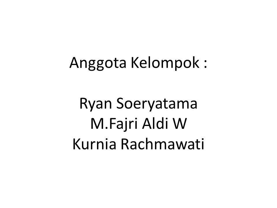 Anggota Kelompok : Ryan Soeryatama M.Fajri Aldi W Kurnia Rachmawati