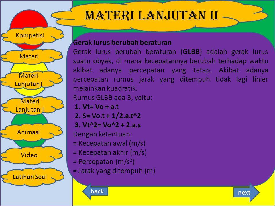 MATERI LANJUTAN I Kompetisi Latihan Soal Materi Animasi Materi Lanjutan I Materi Lanjutan II Video dengan arti dan satuan dalam SI:SI s = jarak tempuh (m)m v = kecepatan (m/s)ms t = waktu (s)s Catatan: Untuk mencari jarak yang ditempuh (S = v.t) Untuk mencari waktu tempuh (t = S/v) Untuk mencari kecepatan (v = S/t) Kecepatan rata-rata Rumus: V = S tot/ T tot next back