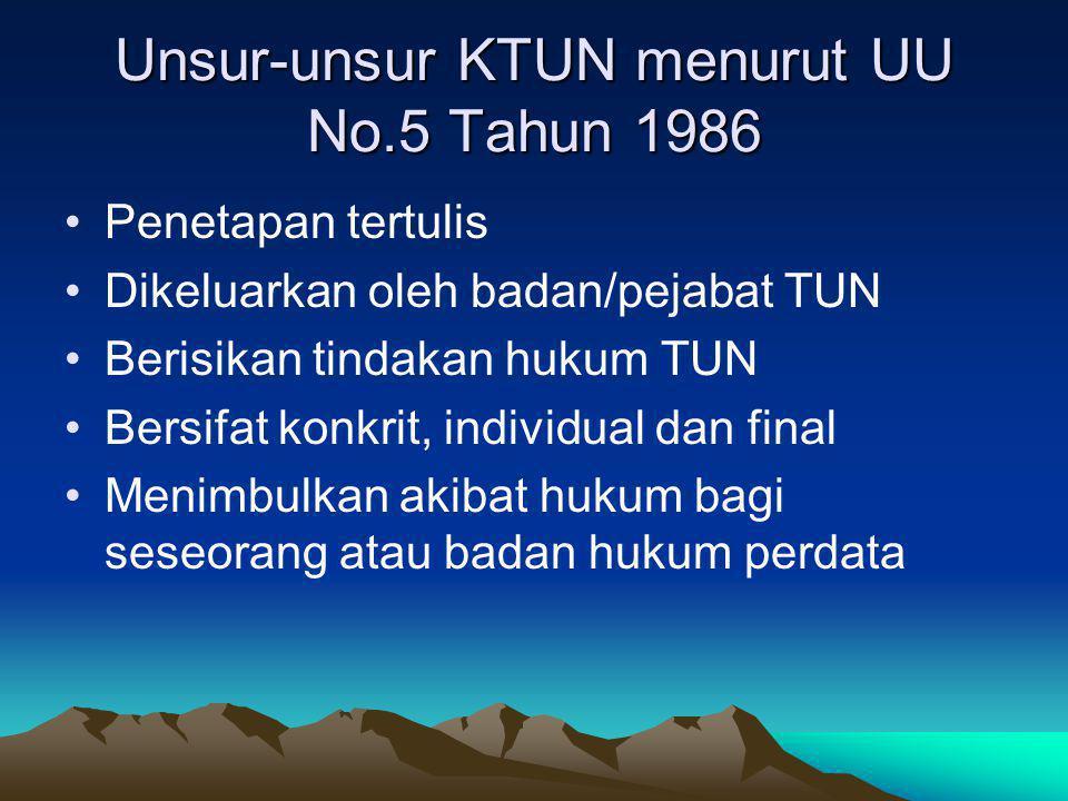 Unsur-unsur KTUN menurut UU No.5 Tahun 1986 Penetapan tertulis Dikeluarkan oleh badan/pejabat TUN Berisikan tindakan hukum TUN Bersifat konkrit, indiv