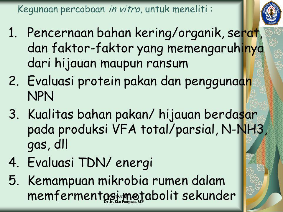 BAHAN KULIAH Dr.Ir. Eko Pangestu, MP Kegunaan percobaan in vitro, untuk meneliti : 1.Pencernaan bahan kering/organik, serat, dan faktor-faktor yang me