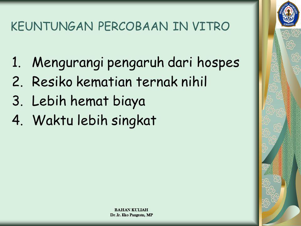 BAHAN KULIAH Dr.Ir. Eko Pangestu, MP KEUNTUNGAN PERCOBAAN IN VITRO 1.Mengurangi pengaruh dari hospes 2.Resiko kematian ternak nihil 3.Lebih hemat biay