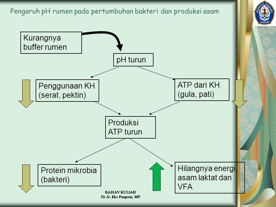 BAHAN KULIAH Dr.Ir. Eko Pangestu, MP Pengaruh pH rumen pada pertumbuhan bakteri dan produksi asam Kurangnya buffer rumen pH turun Penggunaan KH (serat