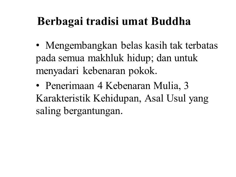 Berbagai tradisi umat Buddha Mengembangkan belas kasih tak terbatas pada semua makhluk hidup; dan untuk menyadari kebenaran pokok.