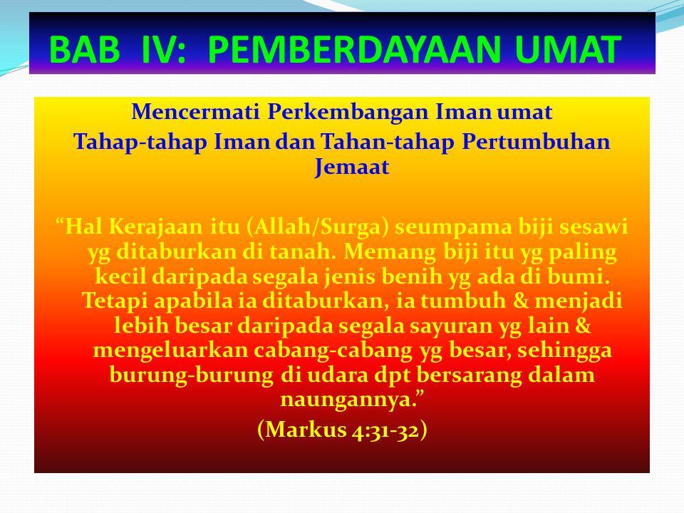 "BAB IV: PEMBERDAYAAN UMAT Mencermati Perkembangan Iman umat Tahap-tahap Iman dan Tahan-tahap Pertumbuhan Jemaat ""Hal Kerajaan itu (Allah/Surga) seumpa"