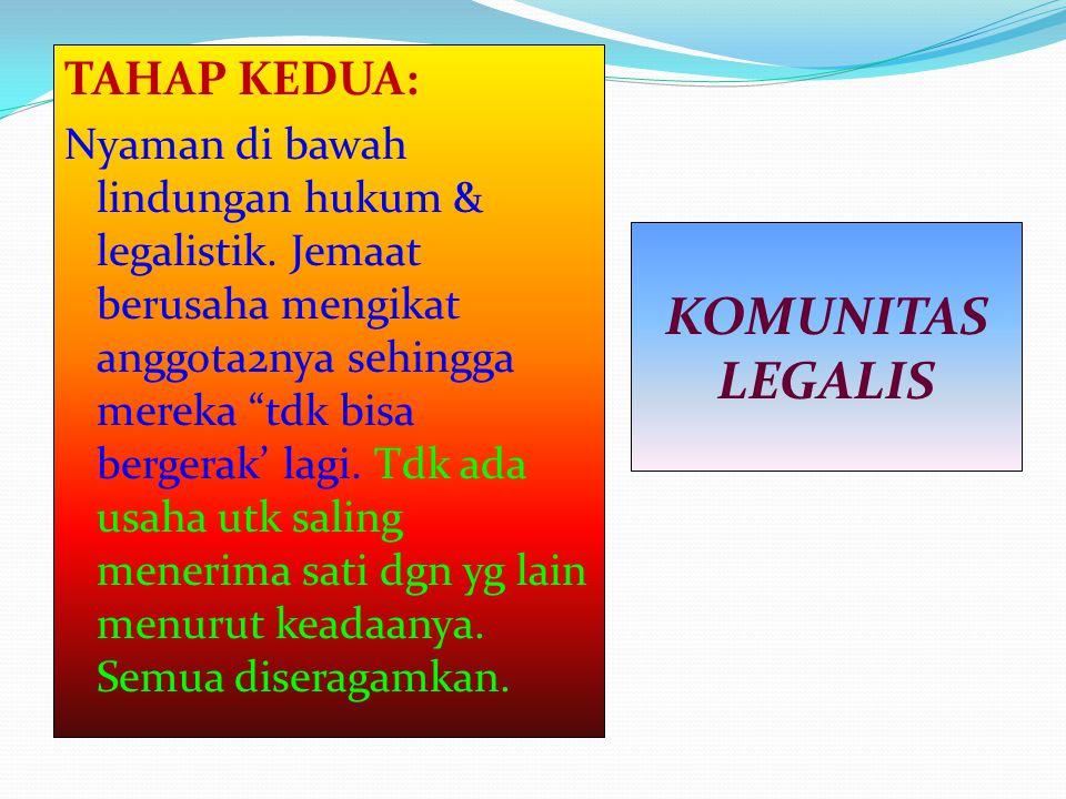 """TAHAP KEDUA: Nyaman di bawah lindungan hukum & legalistik. Jemaat berusaha mengikat anggota2nya sehingga mereka """"tdk bisa bergerak' lagi. Tdk ada usah"""