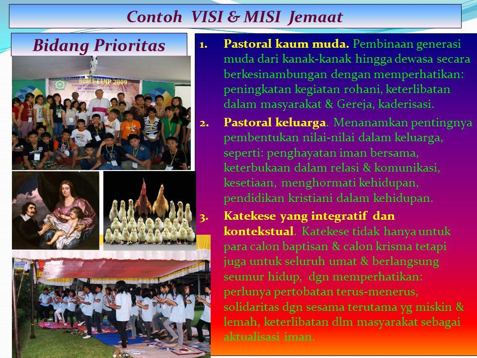 1. Pastoral kaum muda. Pembinaan generasi muda dari kanak-kanak hingga dewasa secara berkesinambungan dengan memperhatikan: peningkatan kegiatan rohan