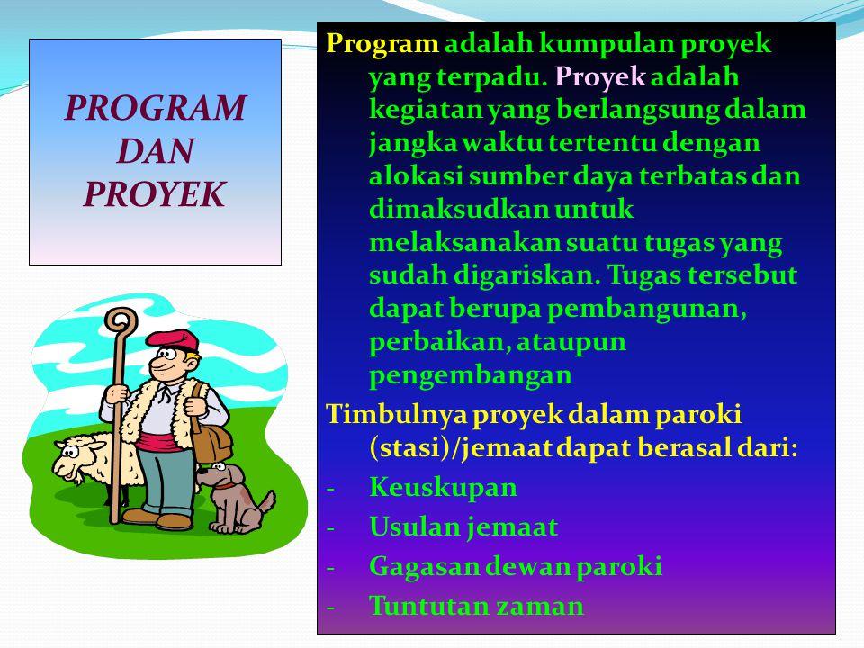 Program adalah kumpulan proyek yang terpadu. Proyek adalah kegiatan yang berlangsung dalam jangka waktu tertentu dengan alokasi sumber daya terbatas d