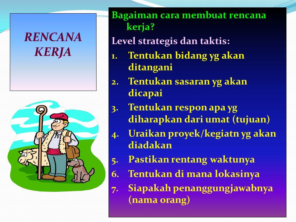 Bagaiman cara membuat rencana kerja? Level strategis dan taktis: 1. Tentukan bidang yg akan ditangani 2. Tentukan sasaran yg akan dicapai 3. Tentukan