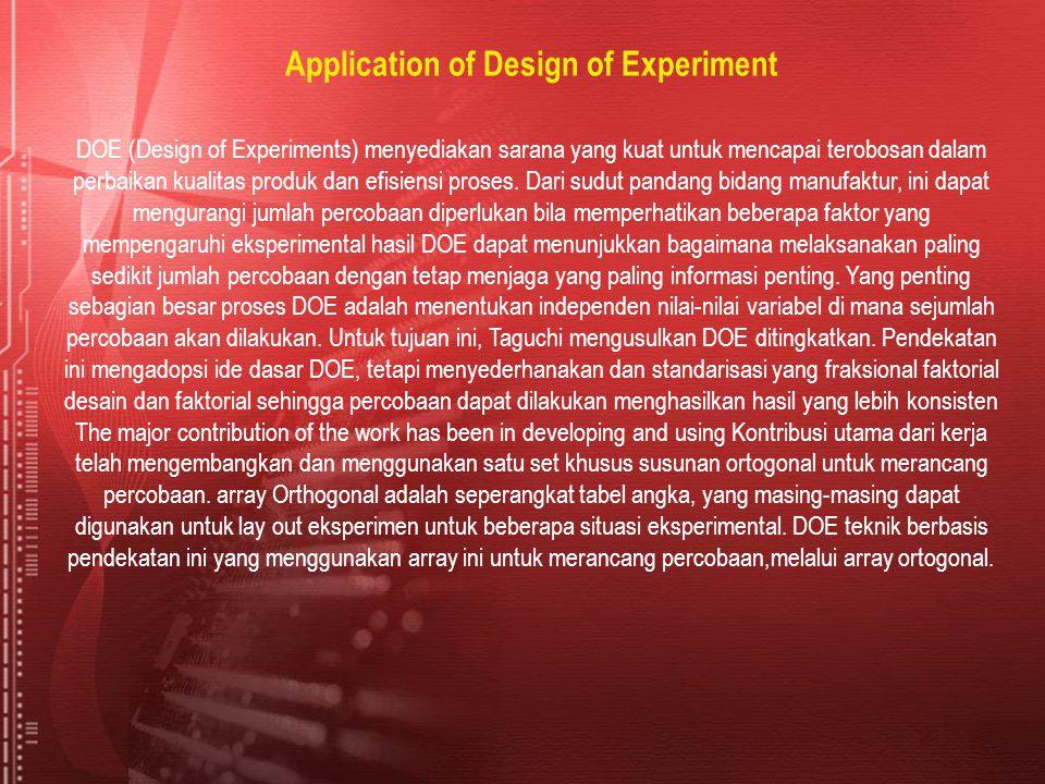 Application of Design of Experiment DOE (Design of Experiments) menyediakan sarana yang kuat untuk mencapai terobosan dalam perbaikan kualitas produk