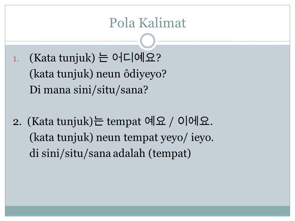 Pola Kalimat 1. (Kata tunjuk) 는 어디예요 . (kata tunjuk) neun ôdiyeyo.