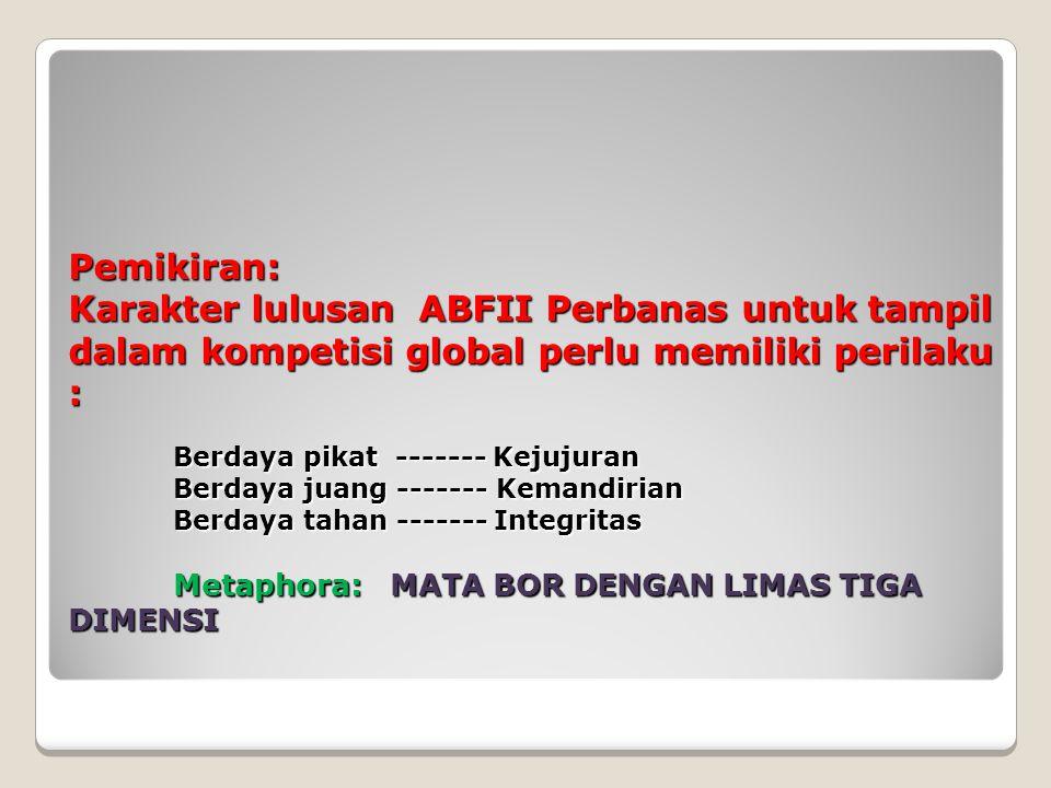 Pemikiran: Karakter lulusan ABFII Perbanas untuk tampil dalam kompetisi global perlu memiliki perilaku : Berdaya pikat ------- Kejujuran Berdaya juang ------- Kemandirian Berdaya tahan ------- Integritas Metaphora: MATA BOR DENGAN LIMAS TIGA DIMENSI Pemikiran: Karakter lulusan ABFII Perbanas untuk tampil dalam kompetisi global perlu memiliki perilaku : Berdaya pikat ------- Kejujuran Berdaya juang ------- Kemandirian Berdaya tahan ------- Integritas Metaphora: MATA BOR DENGAN LIMAS TIGA DIMENSI