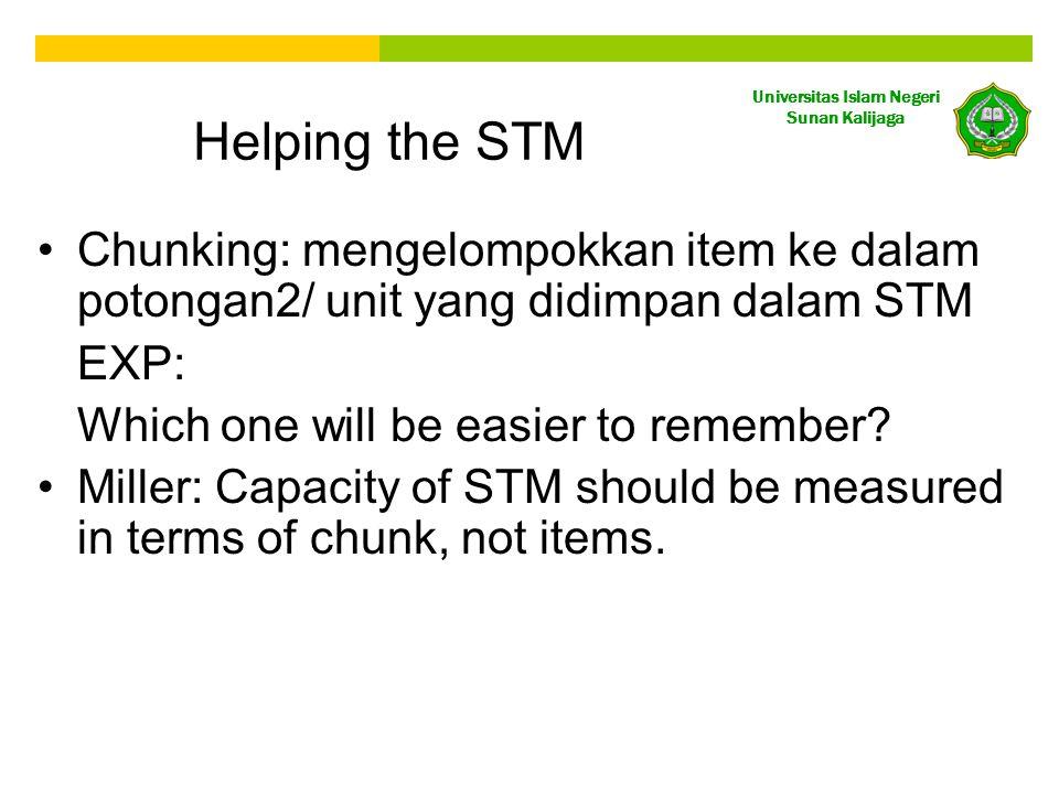 Universitas Islam Negeri Sunan Kalijaga Helping the STM Chunking: mengelompokkan item ke dalam potongan2/ unit yang didimpan dalam STM EXP: Which one will be easier to remember.