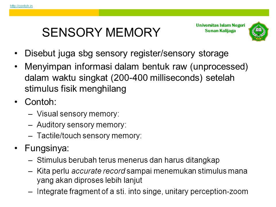 Universitas Islam Negeri Sunan Kalijaga SENSORY MEMORY Disebut juga sbg sensory register/sensory storage Menyimpan informasi dalam bentuk raw (unprocessed) dalam waktu singkat (200-400 milliseconds) setelah stimulus fisik menghilang Contoh: –Visual sensory memory: –Auditory sensory memory: –Tactile/touch sensory memory: Fungsinya: –Stimulus berubah terus menerus dan harus ditangkap –Kita perlu accurate record sampai menemukan stimulus mana yang akan diproses lebih lanjut –Integrate fragment of a sti.