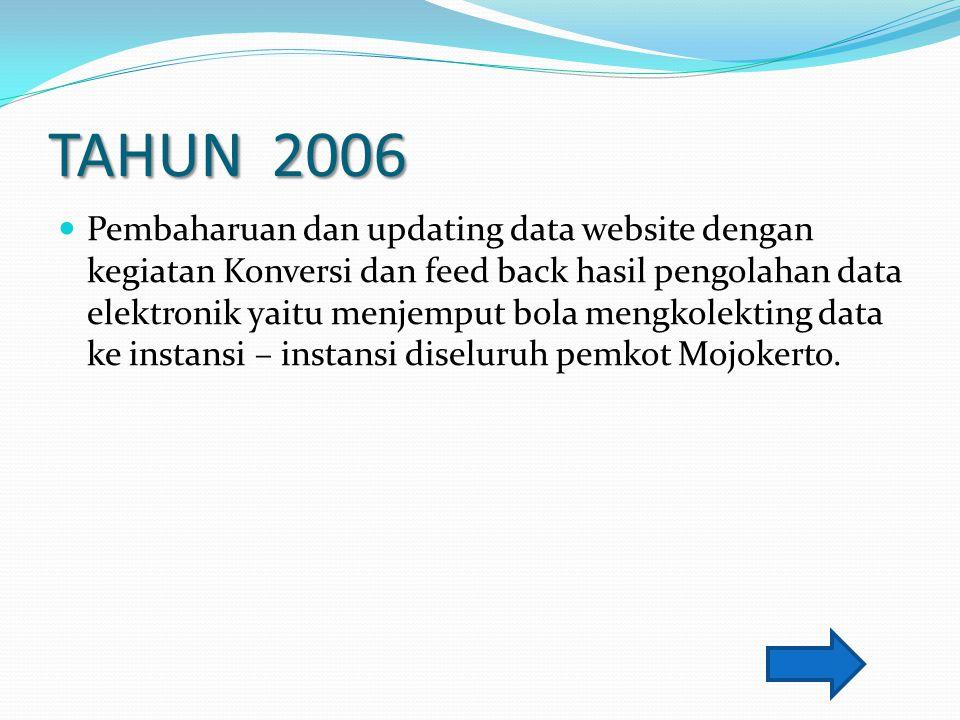 TAHUN 2006 Pembaharuan dan updating data website dengan kegiatan Konversi dan feed back hasil pengolahan data elektronik yaitu menjemput bola mengkole