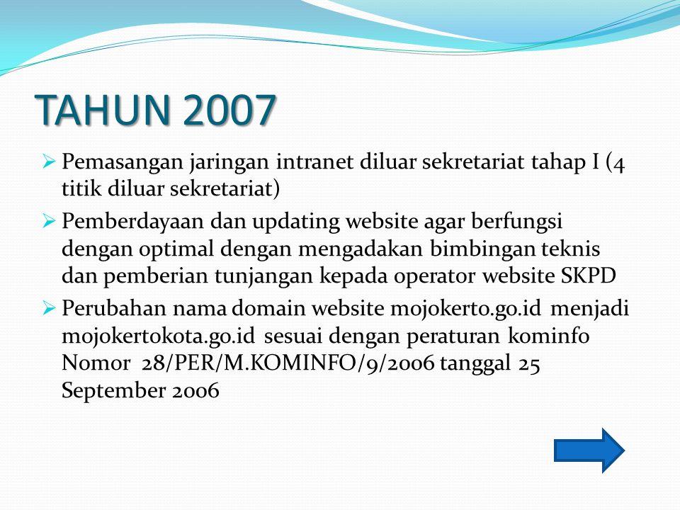 TAHUN 2007  Pemasangan jaringan intranet diluar sekretariat tahap I (4 titik diluar sekretariat)  Pemberdayaan dan updating website agar berfungsi d