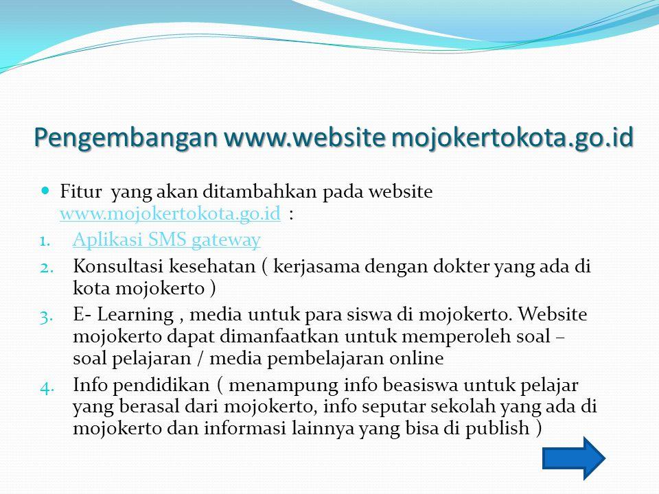 Pengembangan www.website mojokertokota.go.id Fitur yang akan ditambahkan pada website www.mojokertokota.go.id : www.mojokertokota.go.id 1. Aplikasi SM
