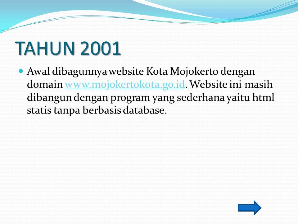 TAHUN 2001 Awal dibagunnya website Kota Mojokerto dengan domain www.mojokertokota.go.id. Website ini masih dibangun dengan program yang sederhana yait