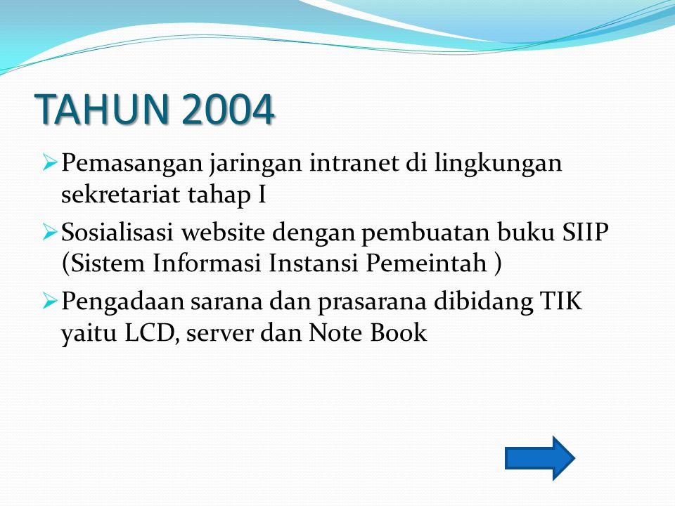 TAHUN 2004  Pemasangan jaringan intranet di lingkungan sekretariat tahap I  Sosialisasi website dengan pembuatan buku SIIP (Sistem Informasi Instans