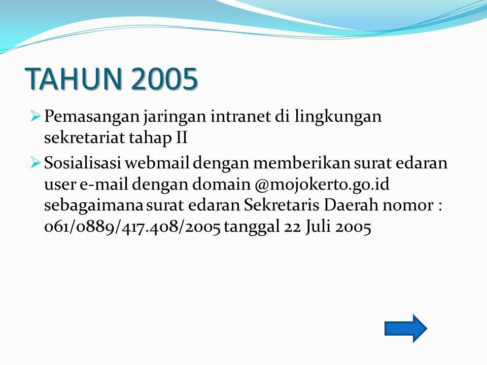 TAHUN 2005  Pemasangan jaringan intranet di lingkungan sekretariat tahap II  Sosialisasi webmail dengan memberikan surat edaran user e-mail dengan d