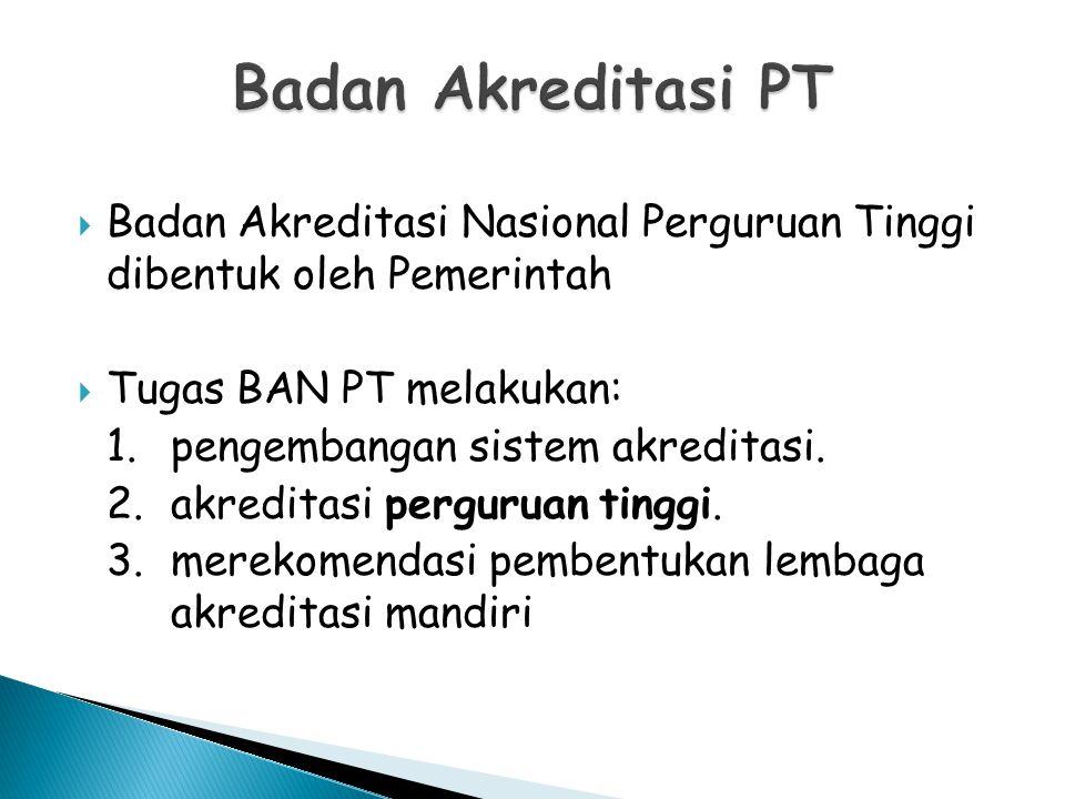  Badan Akreditasi Nasional Perguruan Tinggi dibentuk oleh Pemerintah  Tugas BAN PT melakukan: 1.