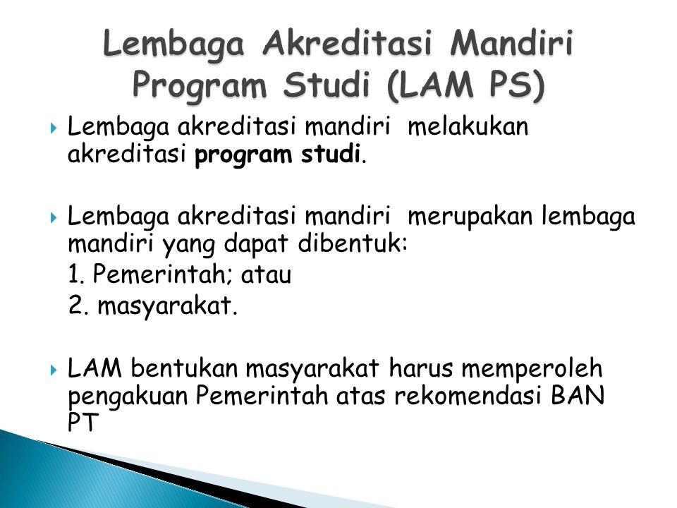  Lembaga akreditasi mandiri melakukan akreditasi program studi.