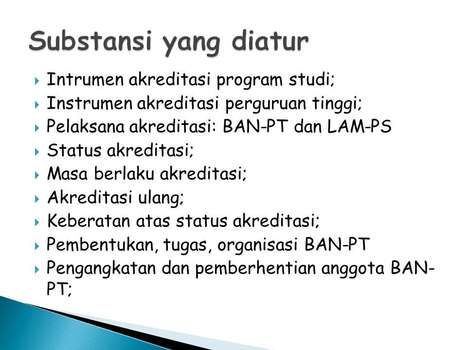  Intrumen akreditasi program studi;  Instrumen akreditasi perguruan tinggi;  Pelaksana akreditasi: BAN-PT dan LAM-PS  Status akreditasi;  Masa berlaku akreditasi;  Akreditasi ulang;  Keberatan atas status akreditasi;  Pembentukan, tugas, organisasi BAN-PT  Pengangkatan dan pemberhentian anggota BAN- PT;