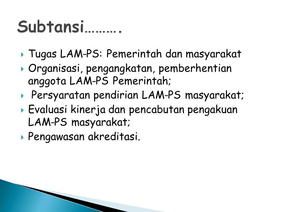 Tugas LAM-PS: Pemerintah dan masyarakat  Organisasi, pengangkatan, pemberhentian anggota LAM-PS Pemerintah;  Persyaratan pendirian LAM-PS masyarakat;  Evaluasi kinerja dan pencabutan pengakuan LAM-PS masyarakat;  Pengawasan akreditasi.