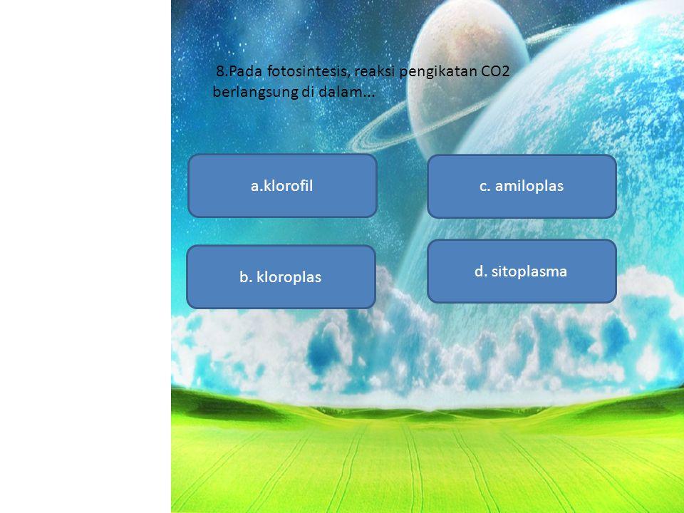 8.Pada fotosintesis, reaksi pengikatan CO2 berlangsung di dalam... a.klorofil d. sitoplasma c. amiloplas b. kloroplas