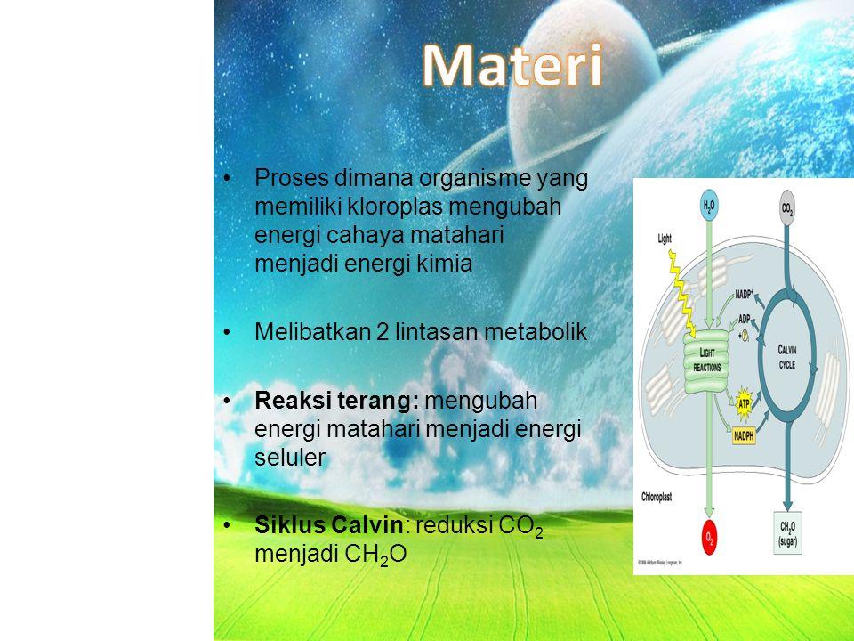 Reduksi CO2 menjadi karbohidrat melalui oksidasi carrier energi (ATP, NADPH) Reaksi terang memberi energi pada carrier Reaksi gelap (siklus Calvin) menghasilkan PGAL (phosphoglyceraldehyde) Fotosintesis terdiri dari dua proses yaitu -Reaksi terang -Siklus Calvin