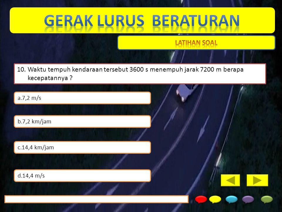 10. Waktu tempuh kendaraan tersebut 3600 s menempuh jarak 7200 m berapa kecepatannya ? a.7,2 m/s b.7,2 km/jam c.14,4 km/jam d.14,4 m/s