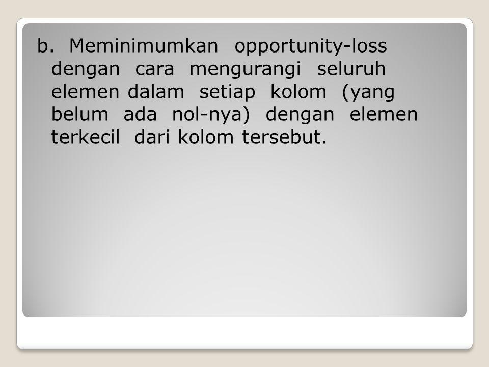 b. Meminimumkan opportunity-loss dengan cara mengurangi seluruh elemen dalam setiap kolom (yang belum ada nol-nya) dengan elemen terkecil dari kolom t