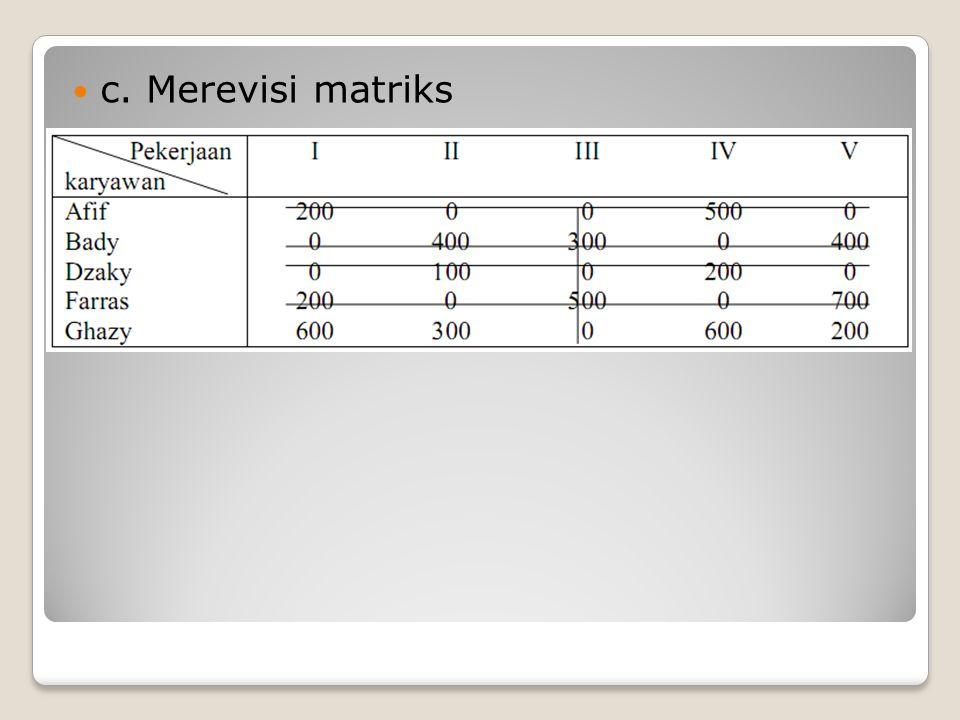 c. Merevisi matriks