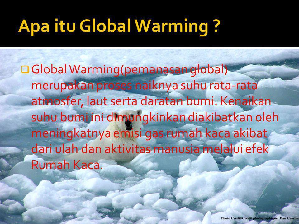  Global Warming(pemanasan global) merupakan proses naiknya suhu rata-rata atmosfer, laut serta daratan bumi. Kenaikan suhu bumi ini dimungkinkan diak