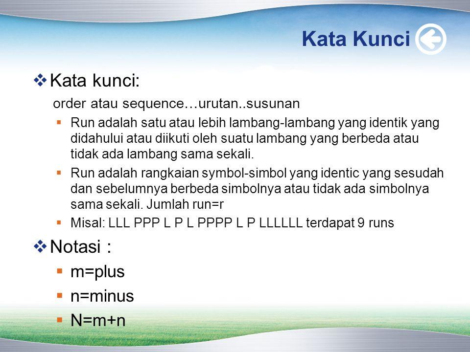 Kata Kunci  Kata kunci: order atau sequence…urutan..susunan  Run adalah satu atau lebih lambang-lambang yang identik yang didahului atau diikuti ole