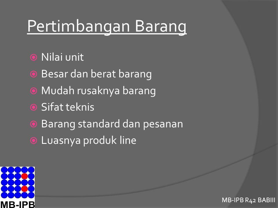 MB-IPB R42 BABIII Pertimbangan Barang  Nilai unit  Besar dan berat barang  Mudah rusaknya barang  Sifat teknis  Barang standard dan pesanan  Luasnya produk line