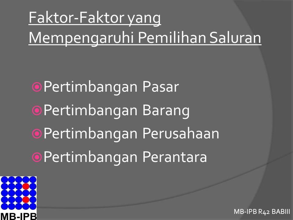 MB-IPB R42 BABIII Faktor-Faktor yang Mempengaruhi Pemilihan Saluran  Pertimbangan Pasar  Pertimbangan Barang  Pertimbangan Perusahaan  Pertimbangan Perantara