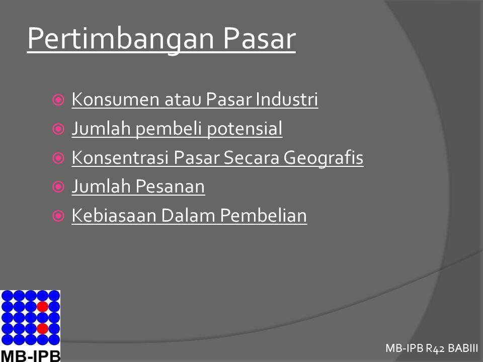 MB-IPB R42 BABIII Pertimbangan Pasar  Konsumen atau Pasar Industri  Jumlah pembeli potensial  Konsentrasi Pasar Secara Geografis  Jumlah Pesanan  Kebiasaan Dalam Pembelian