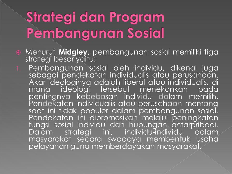 Menurut Midgley, pembangunan sosial memiliki tiga strategi besar yaitu: 1. Pembangunan sosial oleh individu, dikenal juga sebagai pendekatan individ