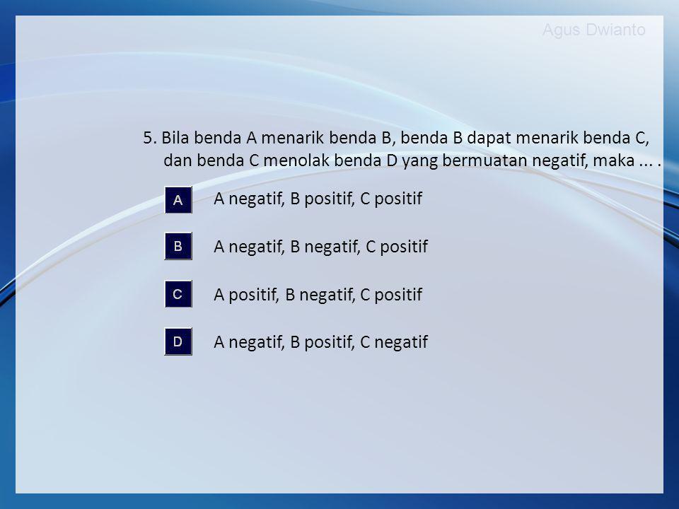 Agus Dwianto 5. Bila benda A menarik benda B, benda B dapat menarik benda C, dan benda C menolak benda D yang bermuatan negatif, maka.... A negatif, B