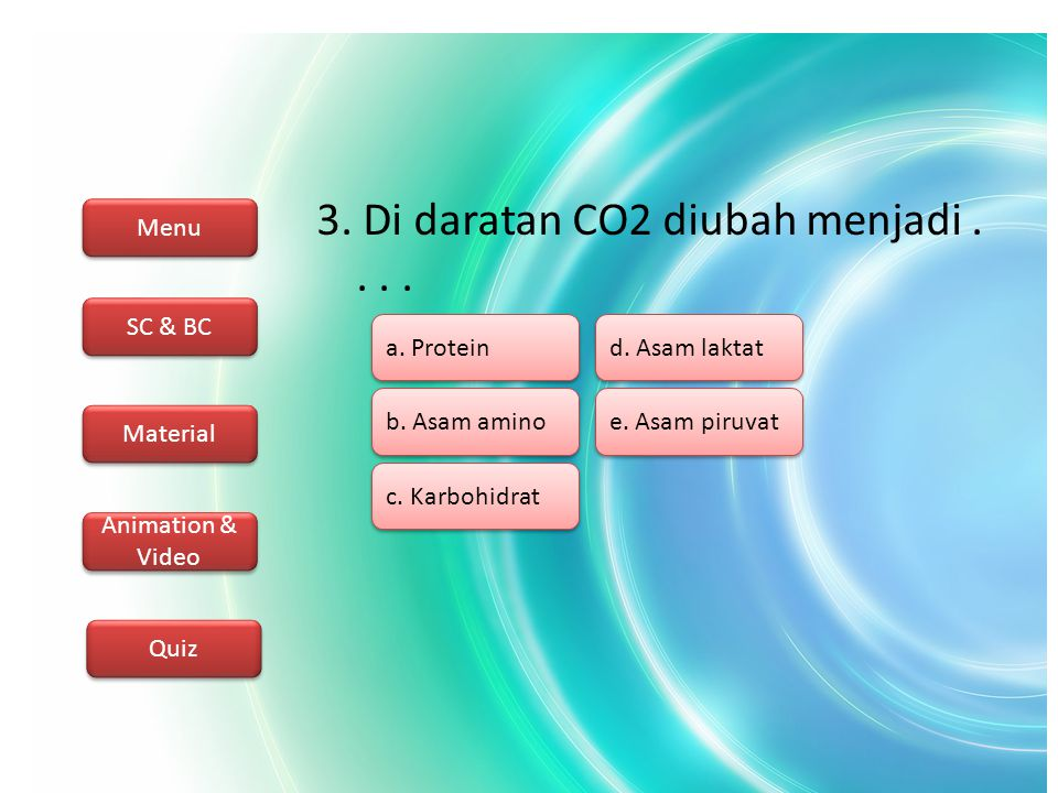 Menu SC & BC Material Animation & Video Quiz 4.Reservoir karbon utama kecuali....