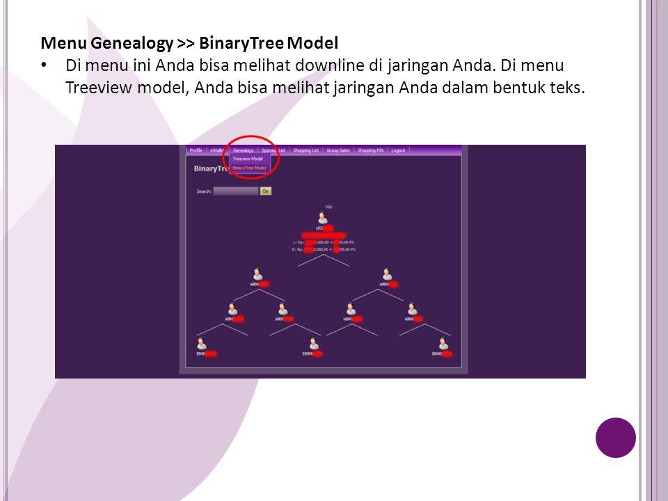 Menu Genealogy >> BinaryTree Model Di menu ini Anda bisa melihat downline di jaringan Anda. Di menu Treeview model, Anda bisa melihat jaringan Anda da