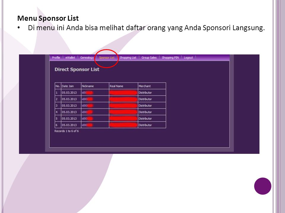 Menu Sponsor List Di menu ini Anda bisa melihat daftar orang yang Anda Sponsori Langsung.