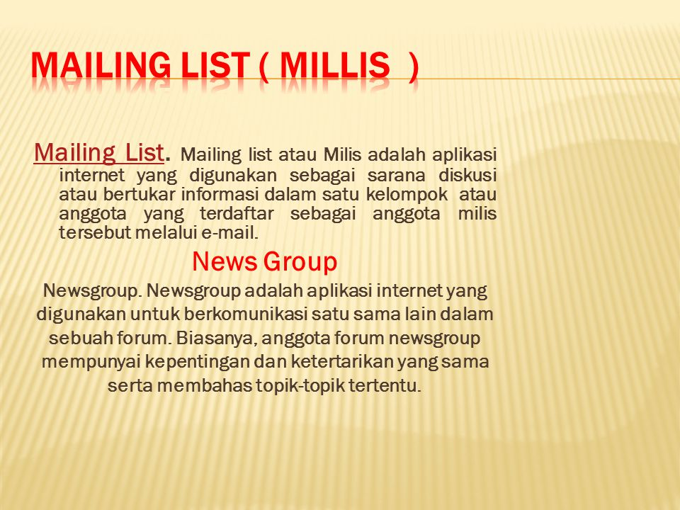 Mailing List.